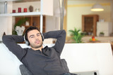 Man relaxing with music