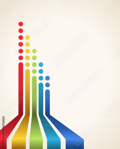 Colored stripes with circles, vector. Design template.