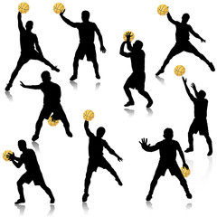 Basketball man in action silhouette set