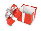 3d Open Red Gift box with white bow