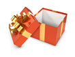 3d Open Red Gift box with gold bow