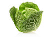 Fresh green cabbage on white, clipping path included