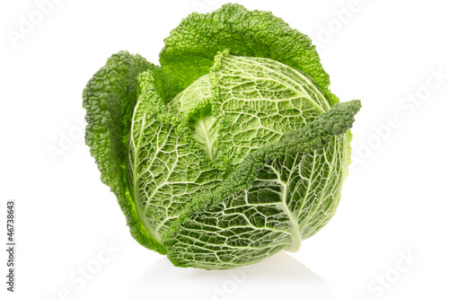 Cabbage on white, clipping path included