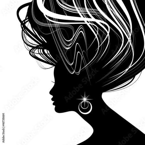 Woman face silhouette with wavy hair - 46738664