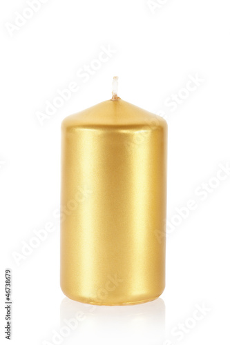 Golden candle isolated with clipping path