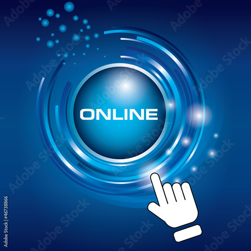 hand pushing button connect social network online