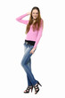 Full length casual fashion woman in jeans posing