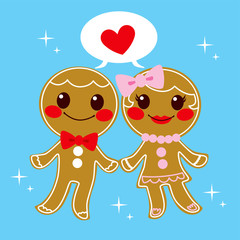 Gingerbread Couple Love