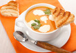Pumpkin soup with cream and toast