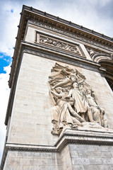 Detail of Arc de Triomphe (Arch the Triumph), Paris, France.