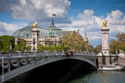 View on the Pont Alexandre III in Paris, a bridge over the Seine