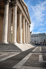Classical antic columns at the front of the pantheon in Paris