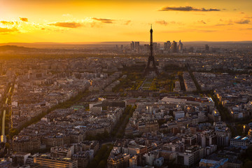 Panorama of Paris at sunset. Eiffel tower view from montparnasse