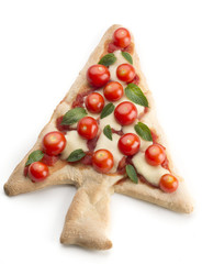 pizza in the shape of Christmas tree
