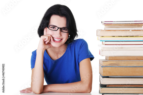 Young student woman with books