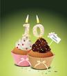 Cupcake mit Geburtstagskerze die Zahl 10