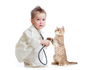 kid or child playing doctor with stethoscope and cat isolated on