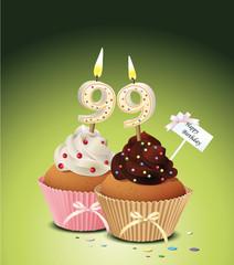 Cupcake mit Geburtstagskerze die Zahl 99