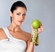 healthy woman with apple