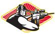 Hunter Shooter Aiming Rifle Retro
