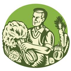 Organic Farmer Green Grocer Vegetable Retro