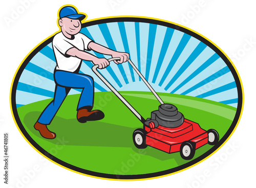 Lawn Mower Man Gardener Cartoon