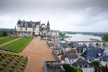 Chateau d'Amboise in the Loire Valley on a gloomy day, France