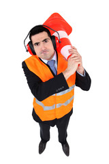 Angry man with traffic cone