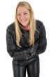 Junge Frau in Lederkombi lacht