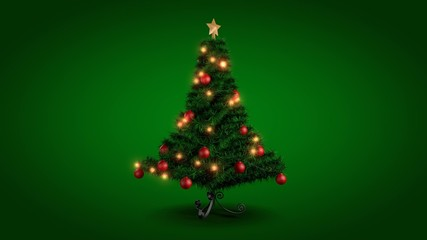 Rotating Christmas tree over green background