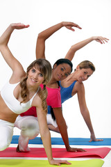Three women in gym class