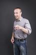 Der Erklärbär - Mann beim erklären (für Collagen)