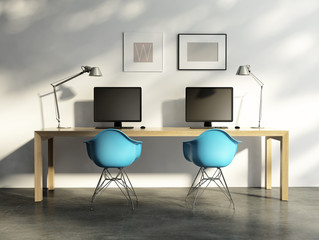 Home office, modern contemporary work place interior