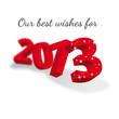 Carte de voeux 2013 rouge en 3D