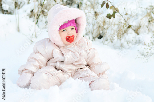 baby girl in snow