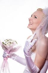 Невеста смеётся, фото в студии