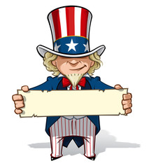 Uncle Sam Holding a Sign