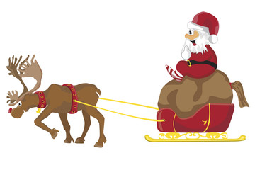 Christmas Santa Claus in a sleigh with reindeer