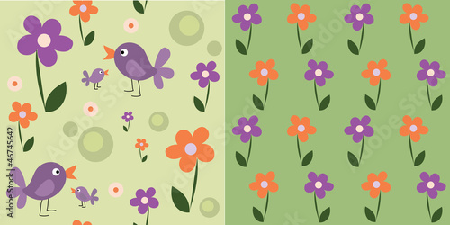 seamless cute flowers and birds, set