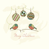 Christmas Handmade Card with Bullfinches