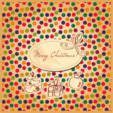 Vintage Christmas card with confetti seamless pattern