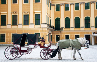 Old style coach with horses