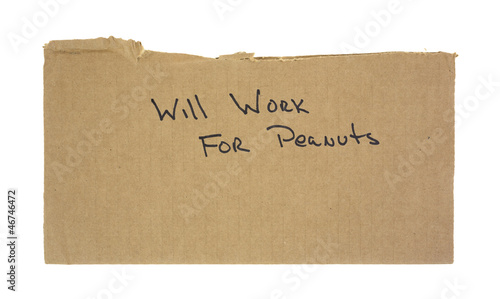 Cardboard will work for peanuts sign