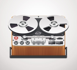 Vector reel-to-reel recorder icon