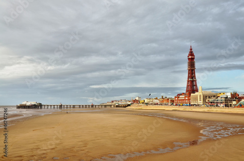 Blackpool Tower and pier, viewed across the sands.