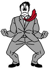 雄たけびを上げるビジネスマン