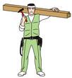 柱を担ぐ大工さん