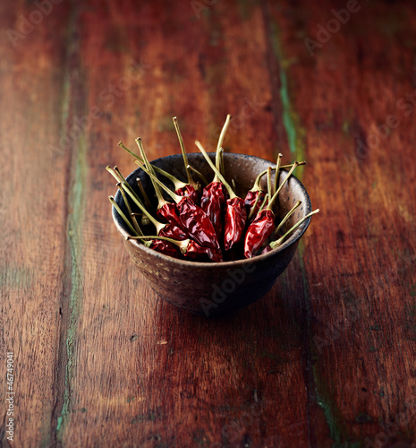 Dried chili peppers in a dish