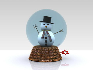 Nice glass ball with Snowman greets - 3D
