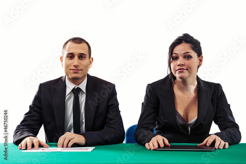 Man and woman business managers at a job interview.